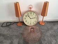 Lamps,clock and metal light fitting
