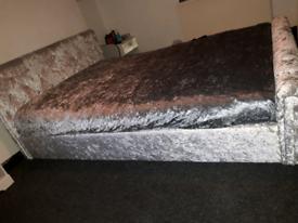 Kingsize crushed velvet bed frame