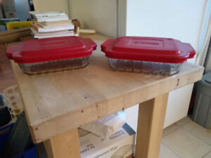 2 plats en verre trempé, pour cuisson au four et micro-onde