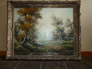 "Vintage Carlo Tedeschi Oil on Canvas  ""Woodland Scene"""