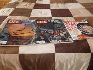 Life Magazines of John Glenn Flights in Space