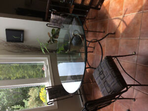 Glass dining table with 4 chairs