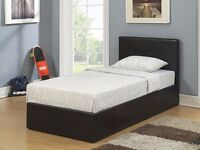 Brand New Single Ottoman Storage Bed Frame With Mattress Black / Brown