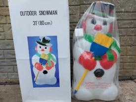 Christmas lights snowman blowmold decoration