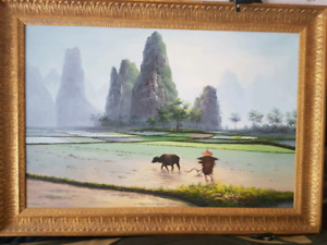 Chinese Oil Painting Rice Fields & Scenery