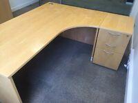 2 X pine corner desks with filing cabinet and pedestal. Delivery