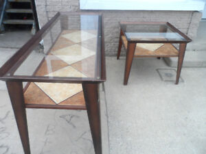 All Metal COFFEE TABLE & END TABLE 2 Tier Ceramic Tile & Glass