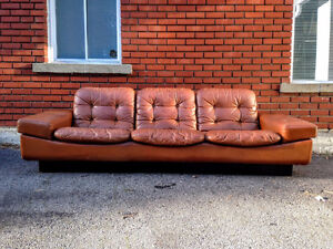 Mid Century Modern Thams Kvalitet Leather Sofa Made in Denmark