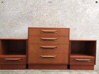 Pair Of Mid Century G Plan Fresco Teak Bedside Cabinets And A Matching Set Of Drawers