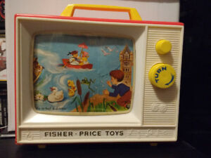 1966 Fisher Price Two Tune #114 GIANT SCREEN MUSIC BOX TV