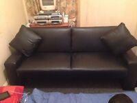 LEATHER SOFA BED USED TWICE