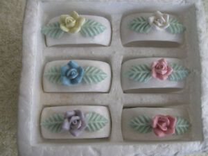 SET of 6 DAINTY LITTLE PORCELAIN NAPPIE RINGS with STANDS