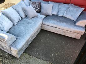As new silver corner sofa