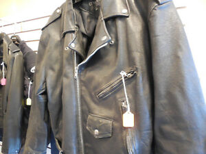 Old school black leather jacket @recycledgear.ca Kawartha Lakes Peterborough Area image 4
