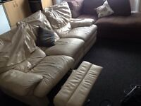 Leather Cream Sofa With Recliner - DELIVERY AVAILABLE