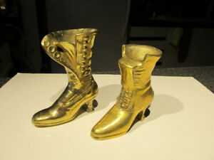 "Brass decor. 5"" and 6"" high decorative boots."