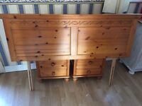 Solid pine double bed headboard with carved detail