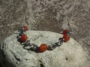 Stainless Steel Bracelets with round Semi-Precious Beads