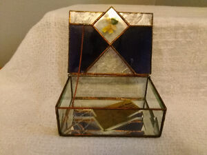 Handmade Stained Glass Jewelry Box - Clear and Amethyst Glass London Ontario image 3