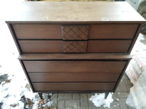 Good 5 drawer dresser with matching  night stand