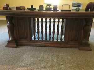 Early 20th Century Solid Oak 72 inch Leather Top Executive Desk Kingston Kingston Area image 2
