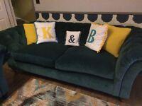 Made com like new Chesterfield 3 seater sofa Teal velvet