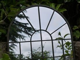Garden Metal Vintage Style Metal Arch Mirror Rounded