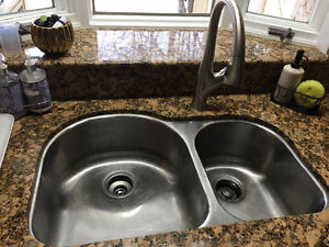 Double undermount stainless Steele kitchen sink and Faucet