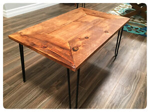 Barn board and hairpin leg coffee / end tables
