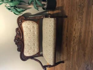 Antique Loveseat tapestry covering
