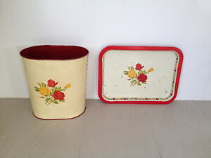 Poubelle & Cabaret  **  VINTAGE  **  Garbage Can & Tray