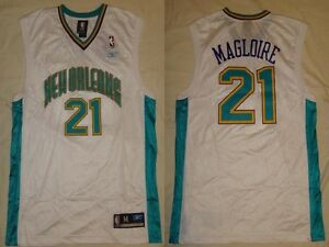 NWT-Jamaal-Magloire-21-New-Orleans-Hornets-Reebok-Replica-Mens-Home-Jersey