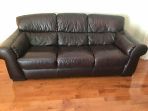 BROWN GENUINE LEATHER SOFA BED AND LOVE-SEAT