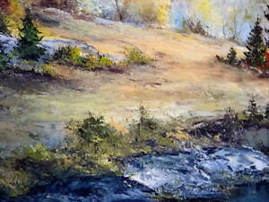 """Panoramic Countryside by E. Benninger """"Across the River"""" 1970's Stratford Kitchener Area image 7"""