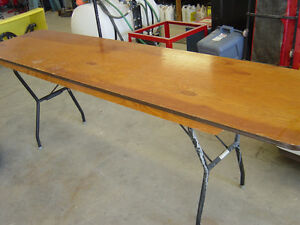 ***SOLD*** 4 Wood Social Hall Folding Tables ***SOLD***