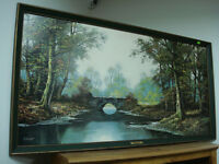 "painting 4' x 2' G. Herbert "" Peaceful Stream "" vintage art"