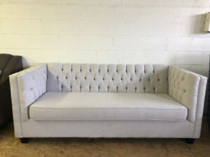 LIGHT GREY BRAND NEW CANADIAN MADE MODERN TUFTED SOFA