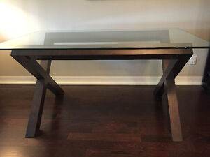 Dining table - wood with glass top 5 feet by 3 feet