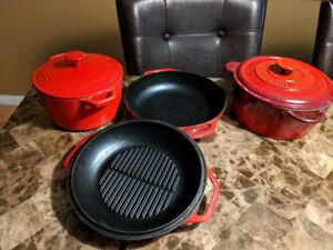Assorted cast iron enamel ware