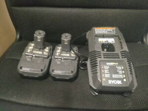 NEW! Ryobi P118 charger and TWO (2) P102 batteries, only $80!