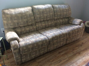 Couch with recliners, table & drawer