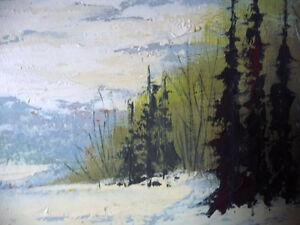 Winter Abstract, by Listed Artist Margrit Gatterbauer 1960's Stratford Kitchener Area image 4