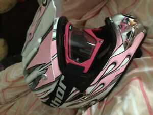 Pink HJC helmet with Thor goggles
