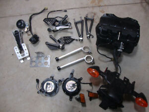 08-16 Yamaha R6 parts-shock, forks, lights, signals, exhaust