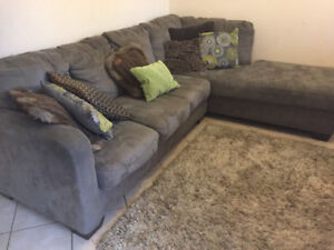 Microsuede/ Microfibre L Shape Sectional Couch from Ashley $300