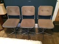 3 1970 / 1980s Vintage Style Chrome Swivel Dining Chairs