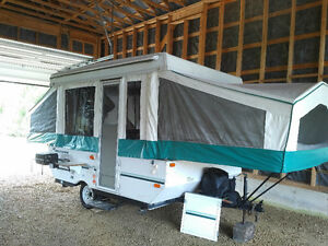 Camper trailer ready for the camping season