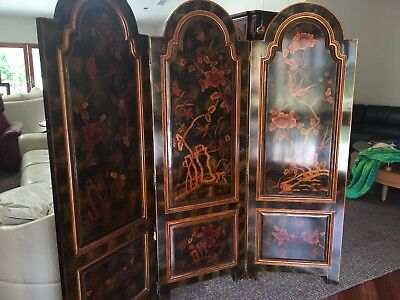 Maitland Smith 3 Panel Hand Painted Screen Rare -- Signed by Artist