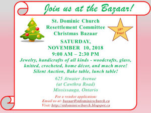 Christmas Bazaar - St Dominic's Resettlement Committee 2018