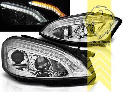 LED Tagfahrlicht Optik Scheinwerfer für Mercedes Benz W221 S-Klasse XENON chrom